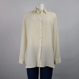 Halston Cream Button Up Top Size M